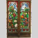 Neo-Gothic stained glass window peasant dance