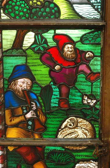 Neo-Gothic stained glass window peasant dance-2