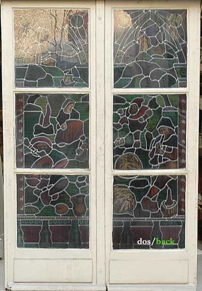 Neo-Gothic stained glass window peasant dance-5