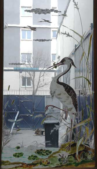 Stained glass window with grey heron-2