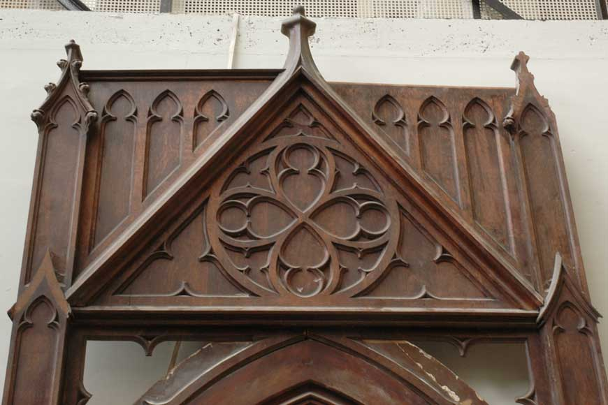 Neo-Gothic oak and walnut door -1