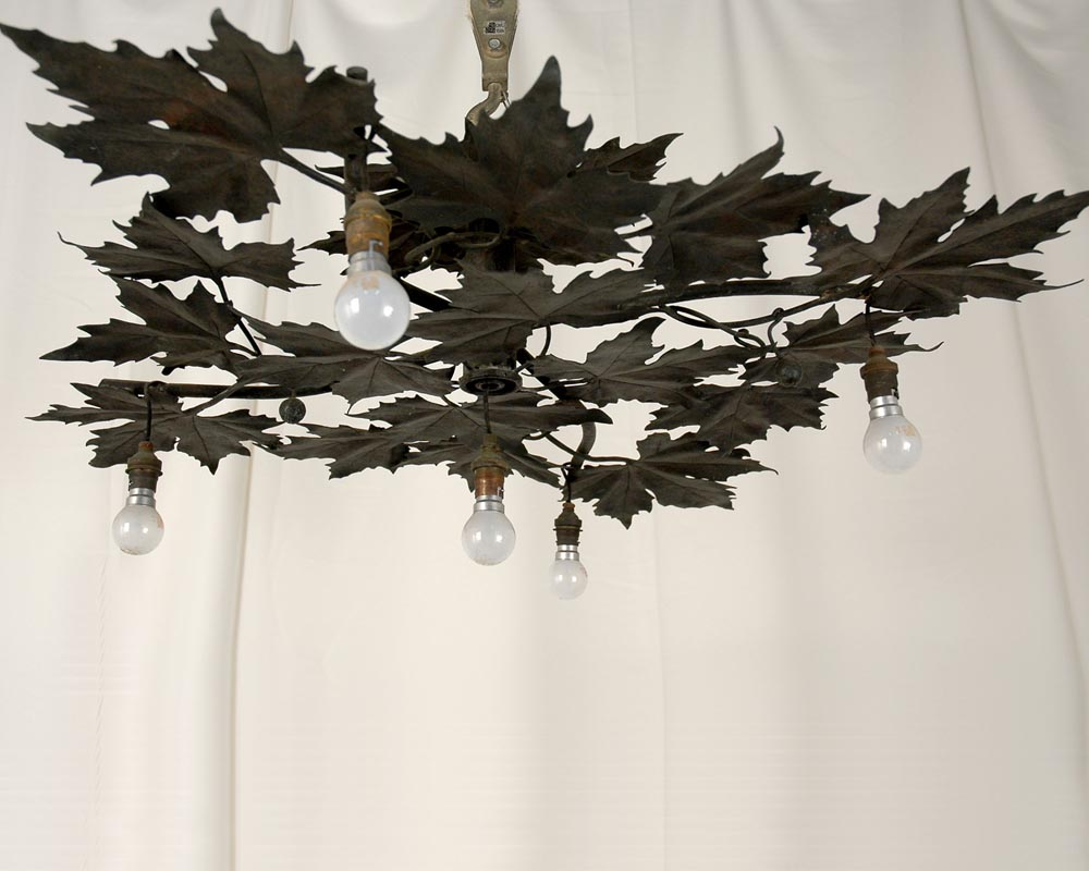 Paul-Louis BRINDEAU DE JARNY (1858 - 1939) : Chandelier with plane tree leaves-0