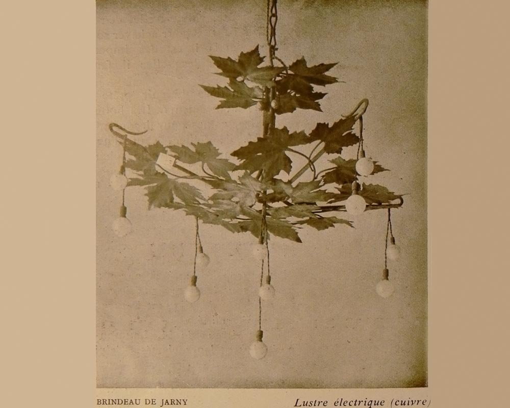 Paul-Louis BRINDEAU DE JARNY (1858 - 1939) : Chandelier with plane tree leaves-5