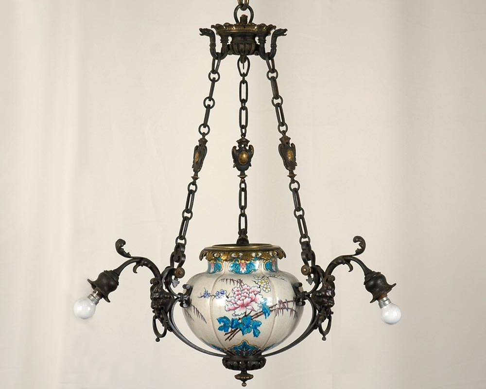 JULES VIEILLARD AND CO (Attributed to) : Chandelier with suspended earthenware center-0