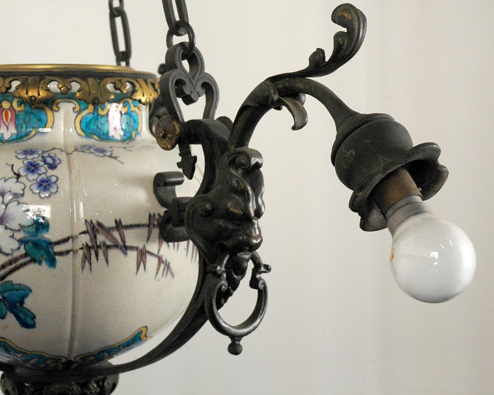JULES VIEILLARD AND CO (Attributed to) : Chandelier with suspended earthenware center-3