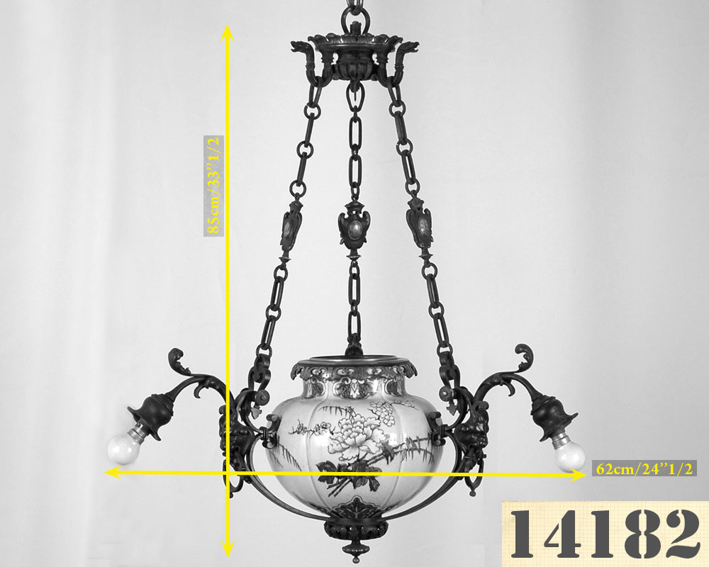 JULES VIEILLARD AND CO (Attributed to) : Chandelier with suspended earthenware center-4