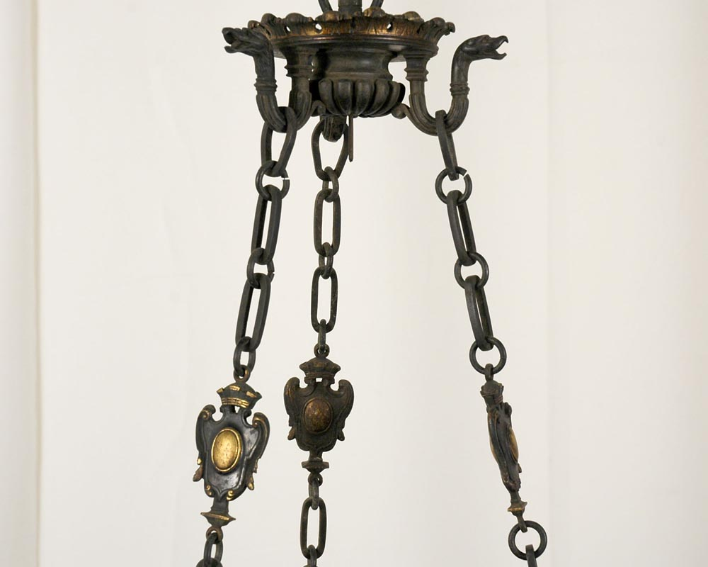 JULES VIEILLARD AND CO (Attributed to) : Chandelier with suspended earthenware center-5