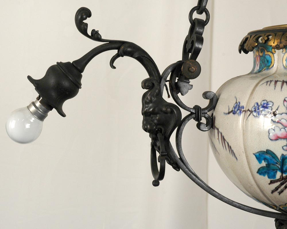 JULES VIEILLARD AND CO (Attributed to) : Chandelier with suspended earthenware center-6