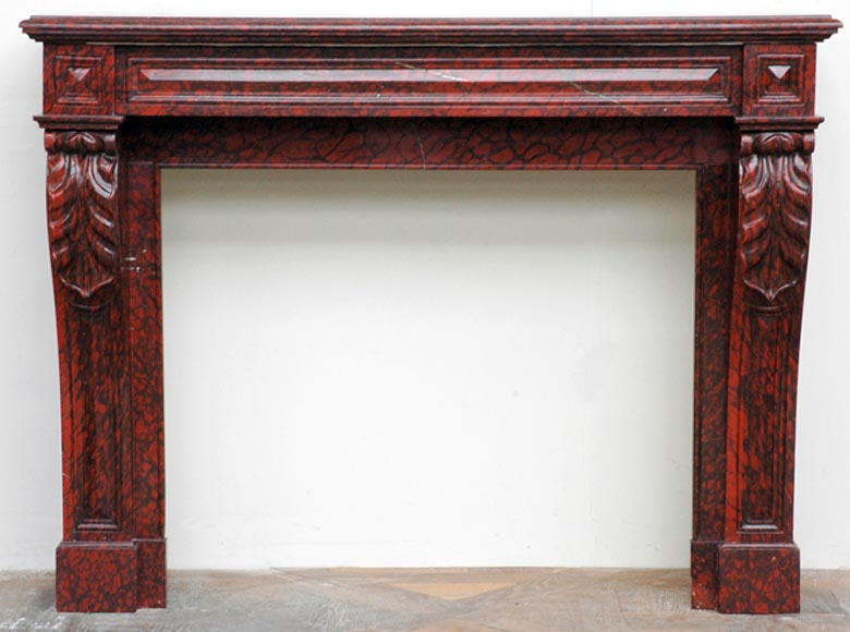 Red Griotte marble mantel with leaf modillions-0