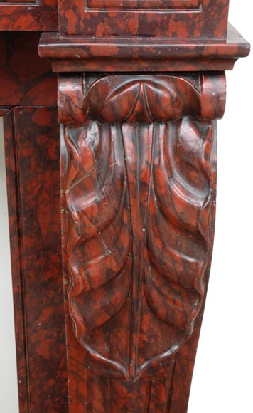 Red Griotte marble mantel with leaf modillions-2