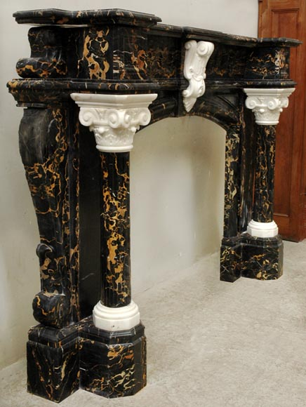 Napoleon III Portor and Carrara Statuary marble mantel with Corinthian columns-4
