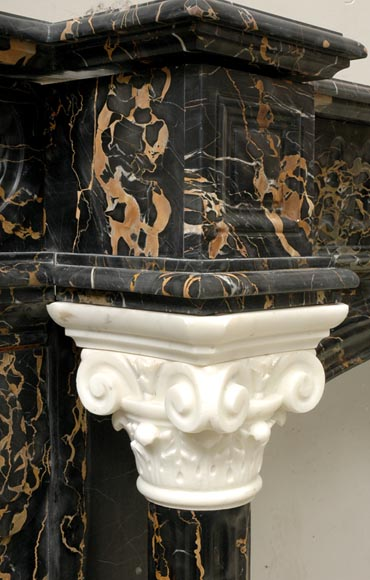Napoleon III Portor and Carrara Statuary marble mantel with Corinthian columns-7