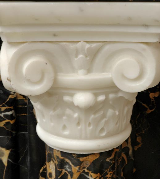 Napoleon III Portor and Carrara Statuary marble mantel with Corinthian columns-10