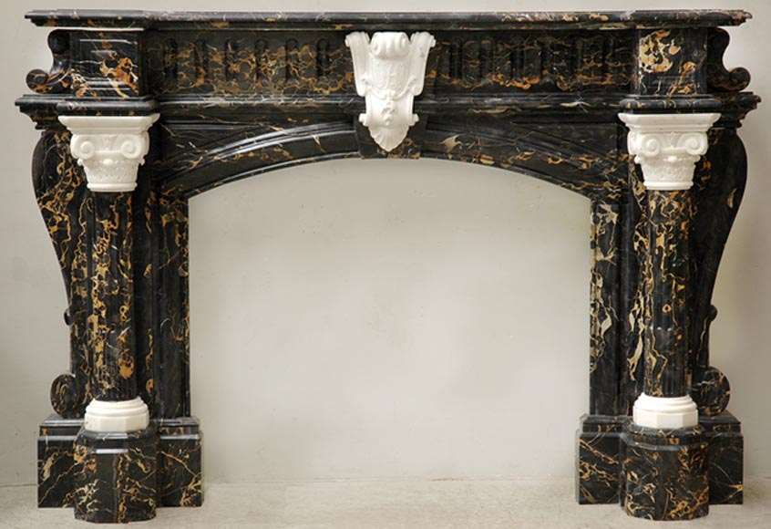 Napoleon III Portor and Carrara Statuary marble mantel with Corinthian columns - Reference 1456