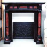 Napoleon III black marble mantel with red marble columns