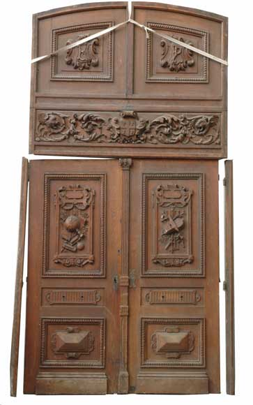 Oak 19th century double door -0