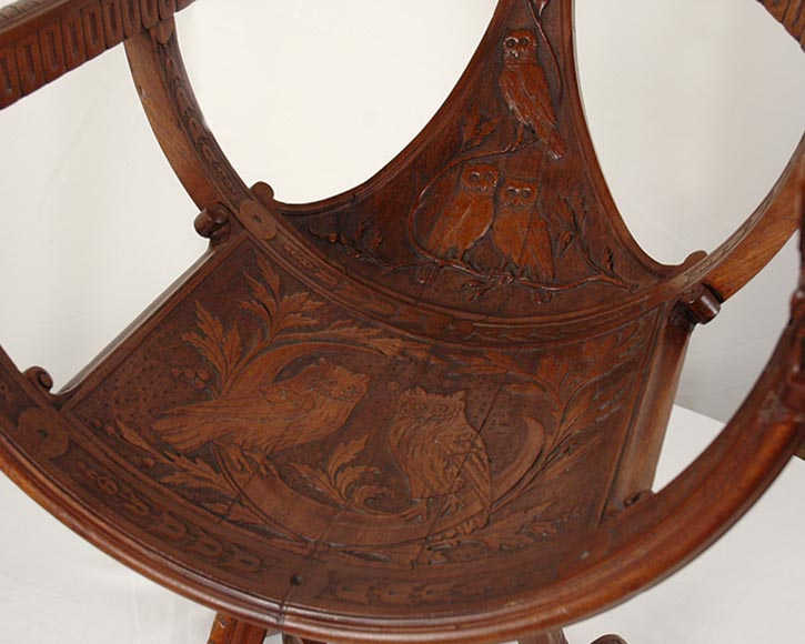 Italy, 19th century, Rare armchair with owls.-4