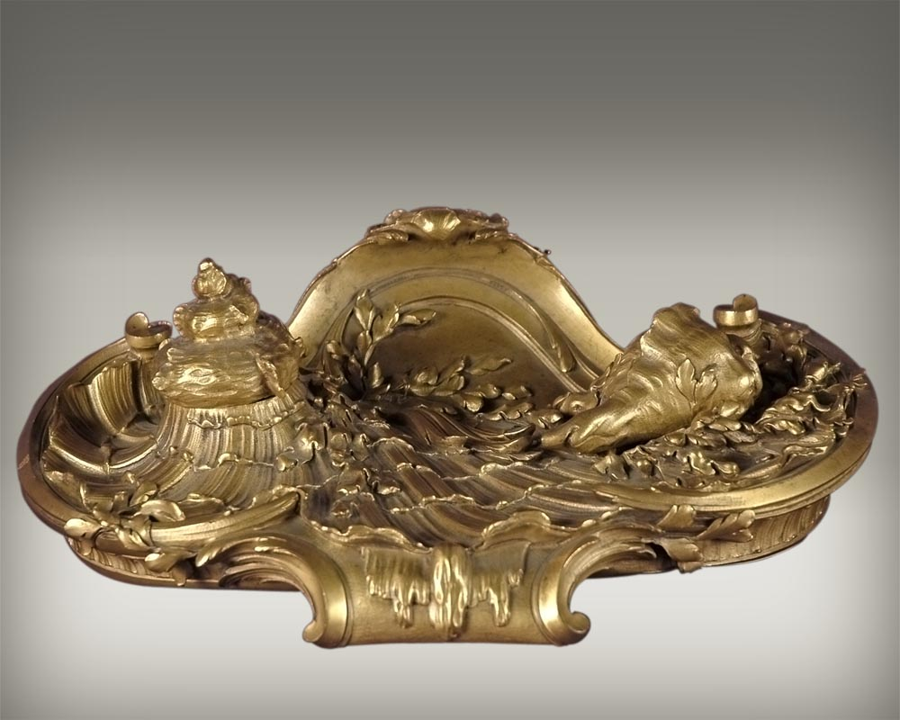François LINKE (1855-1946)  and Léon MESSAGÉ (1842-1901) (Att. to) - « The Sea », Gilt bronze inkwell  - Reference 14892