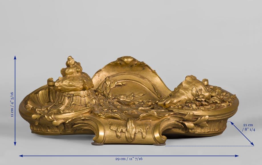 François LINKE (1855-1946)  and Léon MESSAGÉ (1842-1901) (Att. to) - « The Sea », Gilt bronze inkwell -9