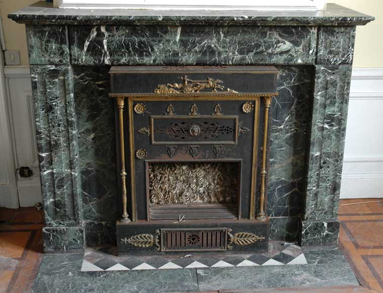 Green Marble Mantel With Empire Style Insert With Bronzes