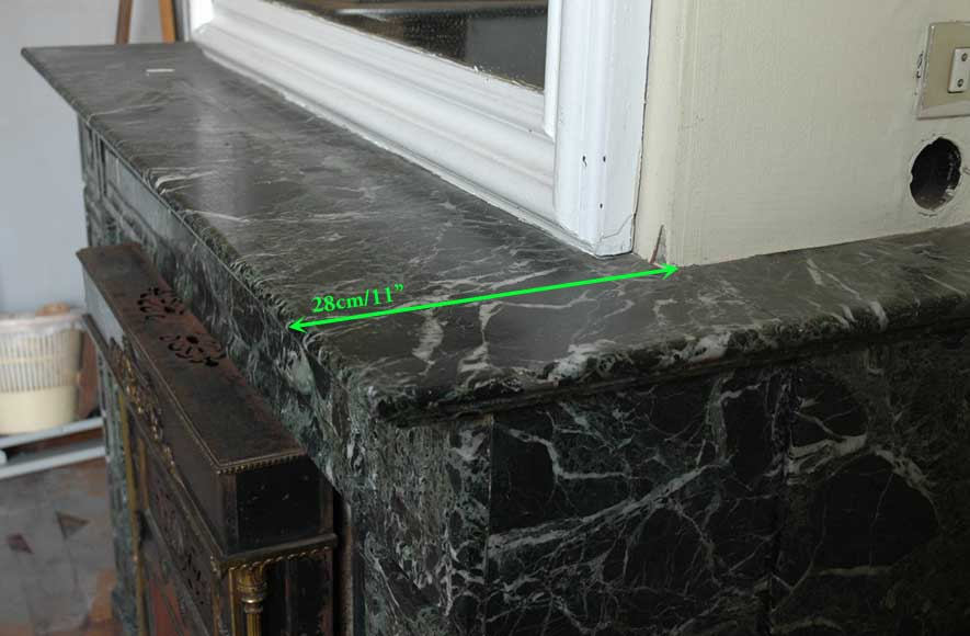 Green Marble Mantel with Empire style Insert with Bronzes -4