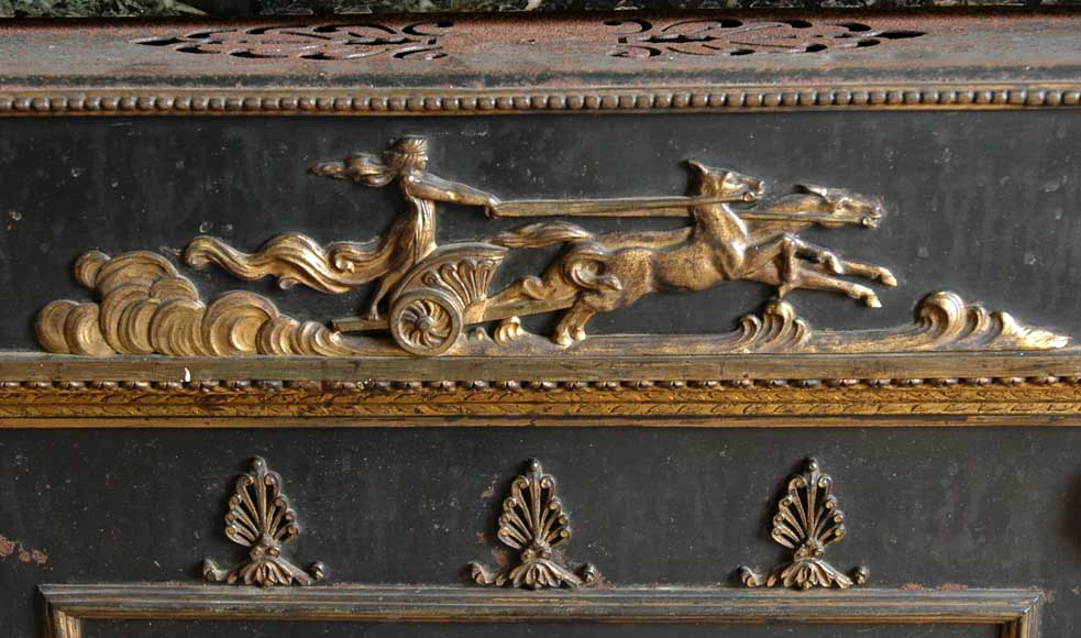 Green Marble Mantel with Empire style Insert with Bronzes -7