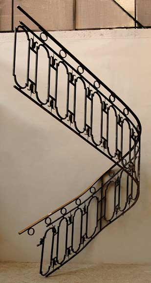 Cast iron banister with brass hand rail-0