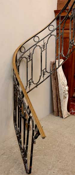 Cast iron banister with brass hand rail-1