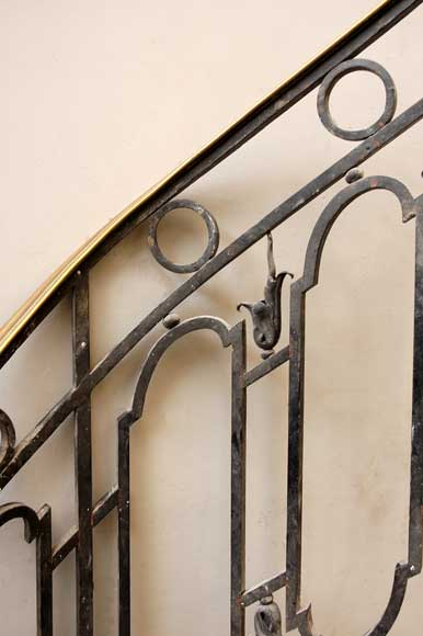Cast iron banister with brass hand rail-3