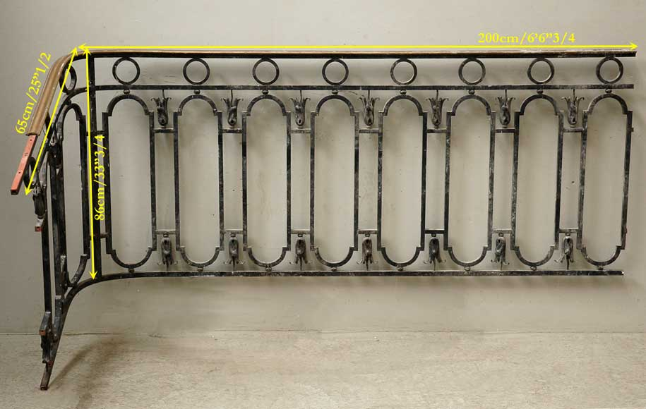 Cast iron banister with brass hand rail-8