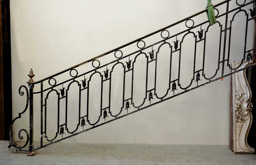 Cast iron banister with brass hand rail-9