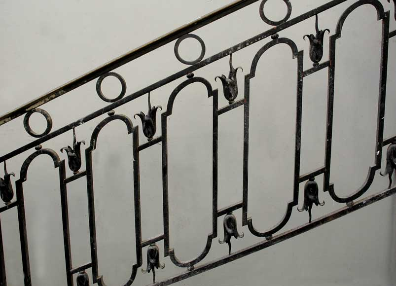 Cast iron banister with brass hand rail-12