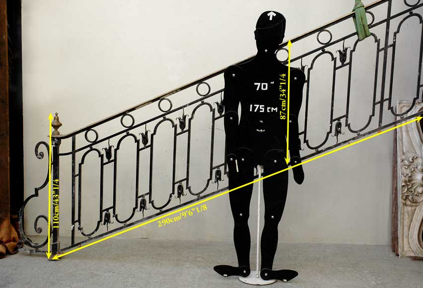 Cast iron banister with brass hand rail-13