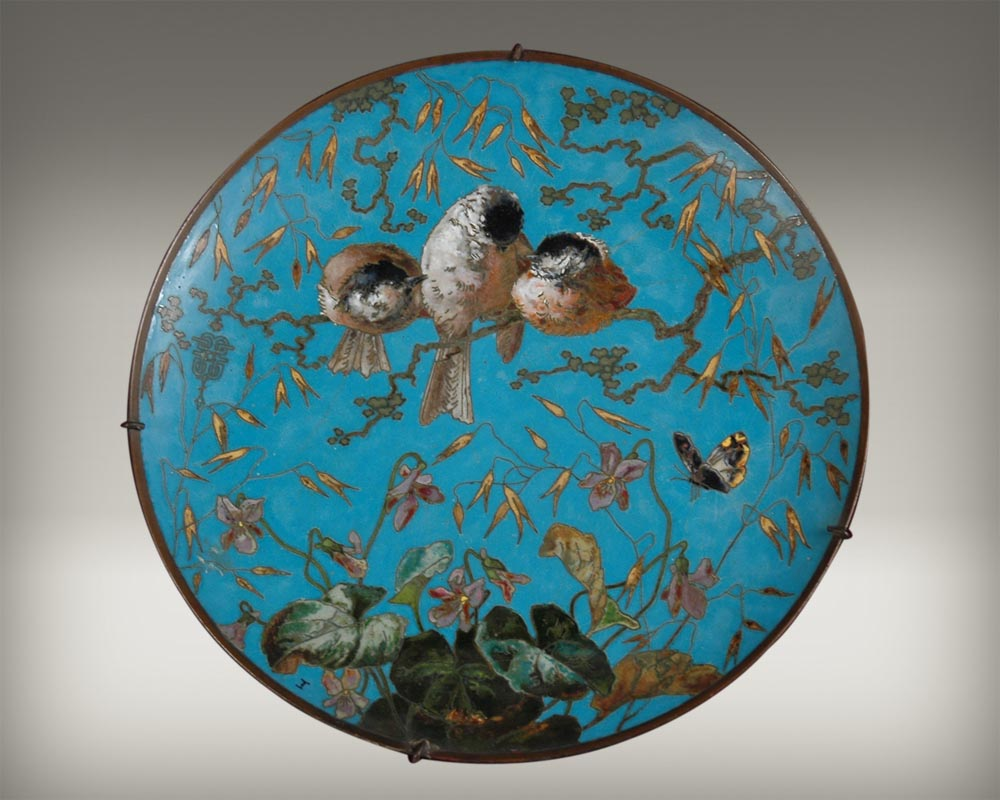 Andre-Fernand THESMAR (1845 - 1912) and Ferdinand BARBEDIENNE,  Ornamental Japanese plate-0