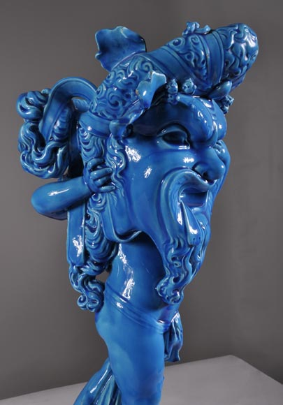 "Joseph Chéret (1838 - 1894) for the Manufactory of Sèvres ""Putto with greek masks"" Coin tray made in faience with a blue glaze-5"