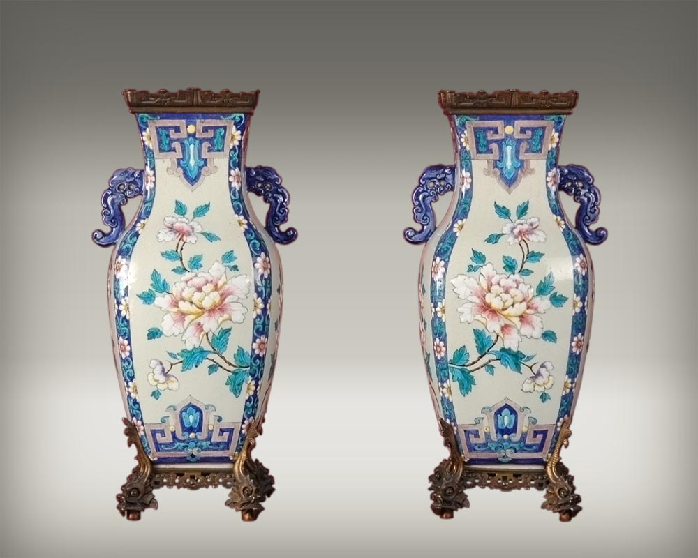 Pair of Japenese Vases by Alphonse Giroux and Charles Ficquenet-0