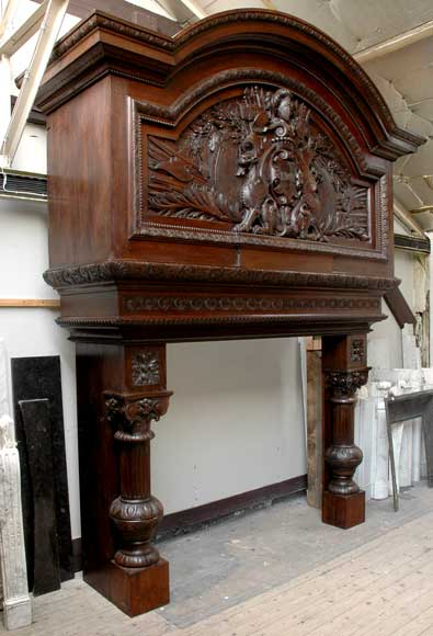 Large Oak antique mantel with Hood from a Chateau-0
