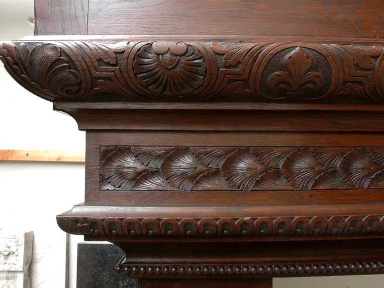 Large Oak antique mantel with Hood from a Chateau-7