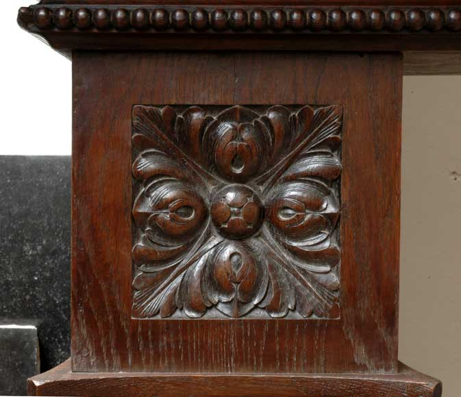 Large Oak antique mantel with Hood from a Chateau-8
