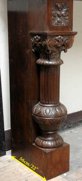 Large Oak antique mantel with Hood from a Chateau-10