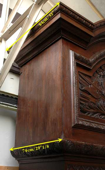 Large Oak antique mantel with Hood from a Chateau-12