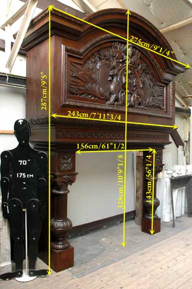 Large Oak antique mantel with Hood from a Chateau-13