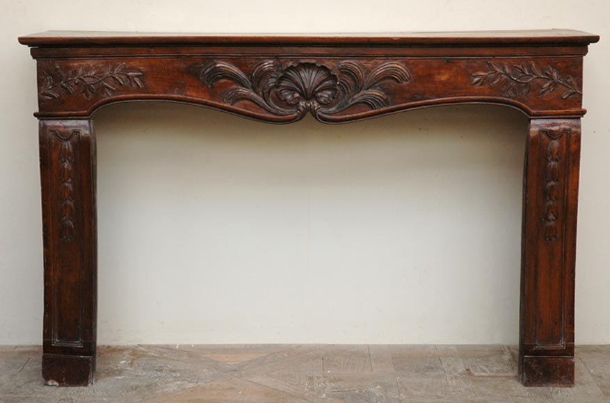 Antique Louis XV period Walnut and Beechwood mantel-0