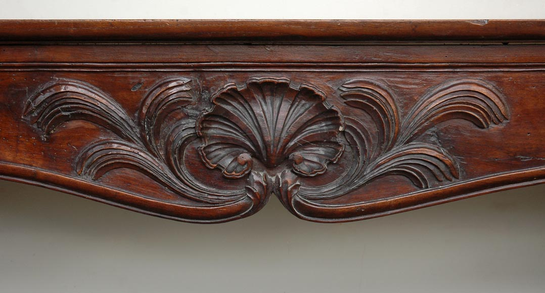 Antique Louis XV period Walnut and Beechwood mantel-1