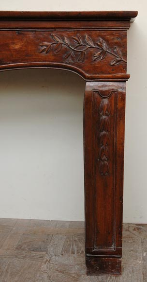 Antique Louis XV period Walnut and Beechwood mantel-2