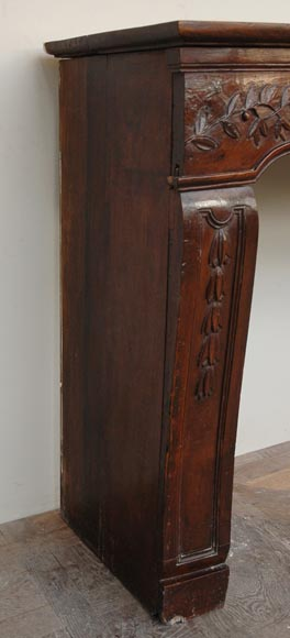 Antique Louis XV period Walnut and Beechwood mantel-3