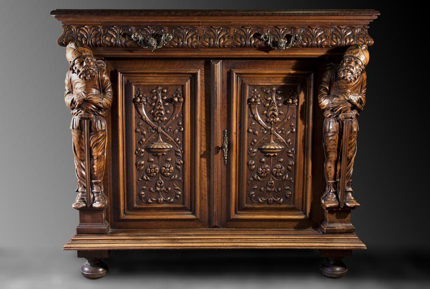 Antique Neo-Renaissance style furniture made out of carved walnut-5