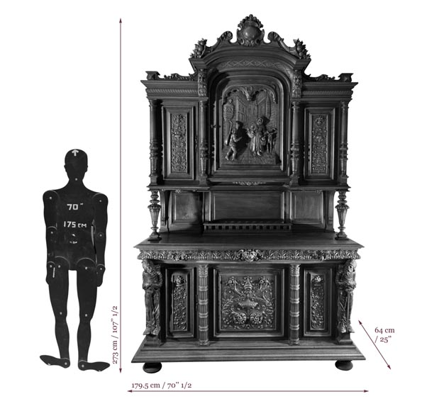 Antique Neo-Renaissance style furniture made out of carved walnut-8