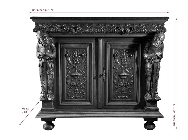 Antique Neo-Renaissance style furniture made out of carved walnut-9