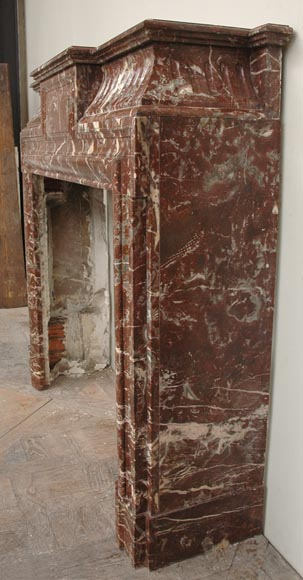 Antique Louis XIV style marble mantel with acroterion-4